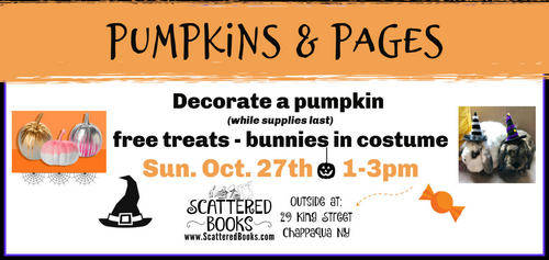 Free pumpkin decorating at Scattered Books on 10/27/19