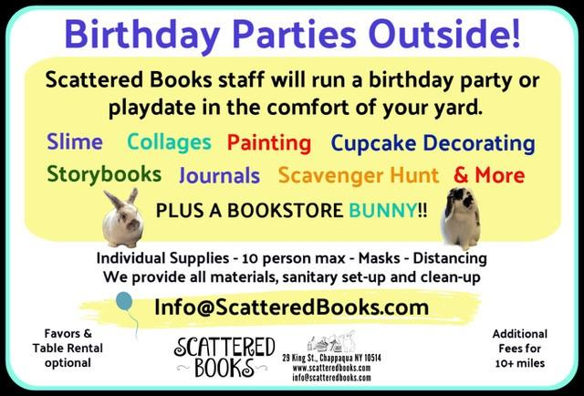 Outdoor custom parties from Scattered Books