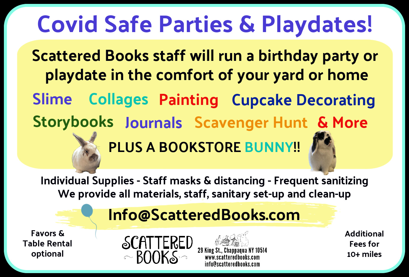 Birthday party info, many Covid safe activities possible